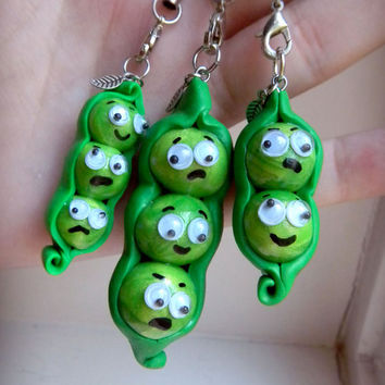 Phone Charm, Keychain, Three Peas in a Pod Polymer Clay, Hand Made