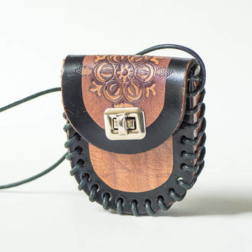 Vintage Brown Leather Belt Purse, Tooled leather purse on belt or shoulder, Hip bag very small handmade, Festival fanny pack boho style 70s
