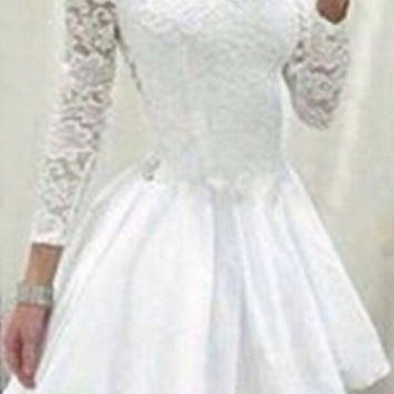 White Long Sleeve Lace Pleated Dress