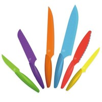 Gela 6-Piece Nonstick Coated Multicolored Knife Set