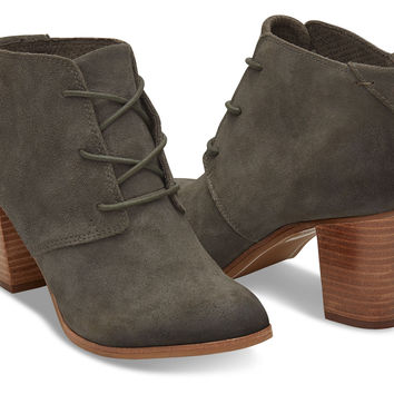 Tarmac Olive Burnished Suede Women's Lunata Lace-Up Booties