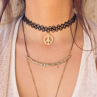 Peace Out Choker - Gold