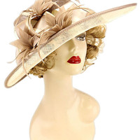 Kentucky Derby Wedding Party Hat Sequin Sinamay Hat - Taupe