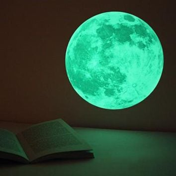 30cm 3D Large Moon Fluorescent Wall Sticker Removable Glow In The Dark Sticker glow in dark flaring moon sticker