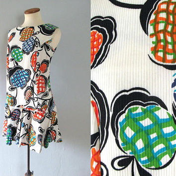 60s white romper - vintage primary color  dress skort novelty fruit print mini shorts full skirt drop waist bow scooter sleeveless mod retro