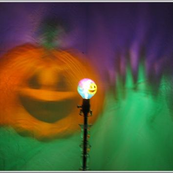 RESERVED FOR QUINN - Hand-Painted Halloween Pumpkin Mood-Light Bulb 4 Color Therapy, Night Lights, Parties, Mood Lighting