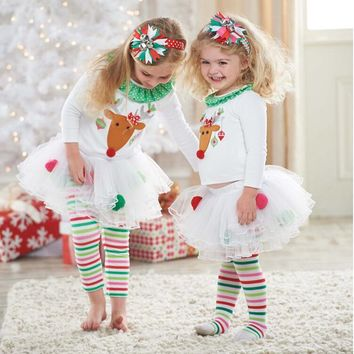 Girl's 2PC Christmas Pajama Set Reindeer With Christmas Lights Very Festive!