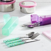Stainless Steal Lunch Utensils, Mint Confetti Dots