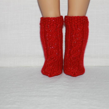 hand knit socks, red sparkle knee high cable socks, 18 inch doll clothes, american girl, maplelea