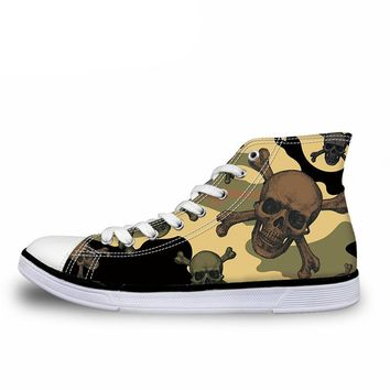 High Top Shoes Men Cool Skull Canvas
