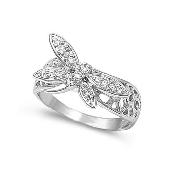 925 Sterling Silver CZ Dragonfly Ring 11MM
