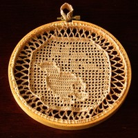 Bird of Peace With Olive Branch - Crochet Art Hanging by RSS Designs In Fiber