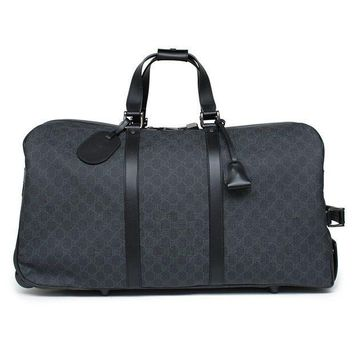 CREYIX5 Gucci Duffle Luggage GG Supreme Carry On Bag Black Signature GG  Leather New 17b621ef52