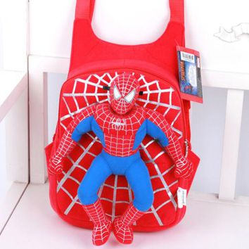 Boys Backpack Bag Fashion Brand Kids Baby Boy Girl Cartoon Spiderman Stuffed Toy  Schoolbag Toddler Shoulder Bag AT_61_4