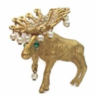 Signed Kenneth Jay Lane Moose Brooch KJL Rare Gold Plated Pin Crystal Rhinestone