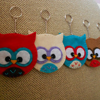 Pick One  Felt Owl Keychain by HollyGoBrightly on Etsy