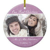 Orchid Newlywed First Christmas Ornament
