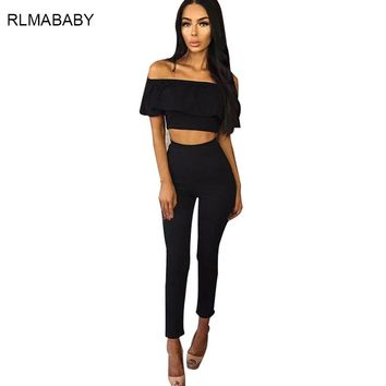 Sexy Off Shoulder 2 Piece Set Blue Long Jumpsuit Slim Ruffles Bodycon Black Femme Overalls Playsuit Romper Womens Jumpsuit