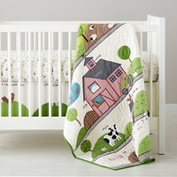 Baby Quilts: Farm Animal Crib Quilts in Sale Bedding | The Land of Nod