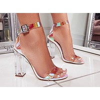 Fashion ladies'silver color square High Heels Sandals