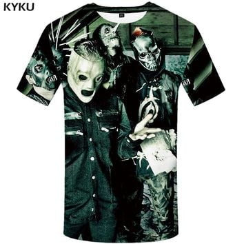 KYKU Slipknot Tshirt Men Band T Shirt Green Hip Hop Tee Streetwear Anime Clothes Character 3d T-shirt Punk Rock Mens Clothing