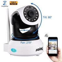 Wifi Wireless Security Cameras 720P HD Pan Tilt-JUNING C7824 IP Camera (Day/Night Vision,baby monitor,2 Way Audio,SD Card Slot, Alarm)