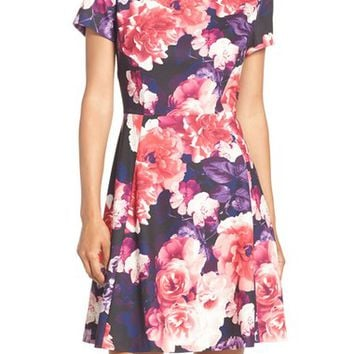 Eliza J Floral Print Fit & Flare Dress (Regular & Petite) | Nordstrom