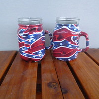 mason jar shot glasses hydrodipped in confederate flag camo