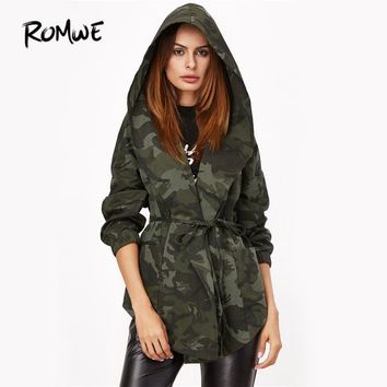 Trendy ROMWE Camo Print Hooded Autumn Jacket Olive Green Women Shawl Collar Print Wrap Coat 2018 Long Sleeve Casual Tie Waist Jacket AT_94_13