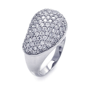 .925 Sterling Silver Rhodium Plated Pave Set Clear Cubic Zirconia Dome Ring: Size:5