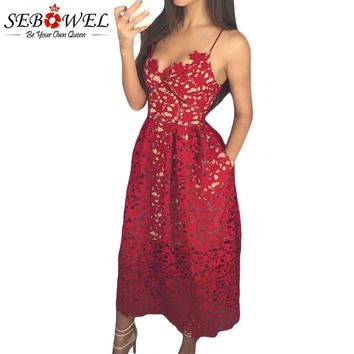 SEBOWEL Sexy Red Lace Party Skater Dress Women Hollow Out Nude Illusion A-Line Dresses Ladies Sleeveless Midi Beach Dress