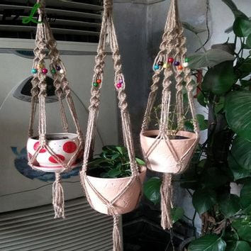 Hand-Woven Macrame Plant Potting Hanger Flowerpot Holder Garden pot Lifting Rope String Garden Balcony Plant Product  GB0041