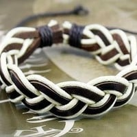 Semi-Adjustable Hawaiian Braided Brown Leather and White Cord Sailor's Surfer-Style Bracelet