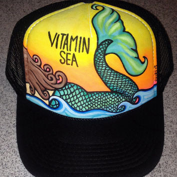 Vitamin Sea mermaid handpainted trucker hat