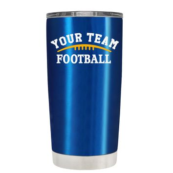 TREK Custom Football Team on Translucent Blue 20 oz Tumbler Cup