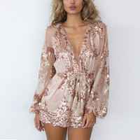 Deep V-Neck Long Sleeve Lace Rompers