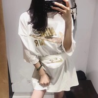 """""""Nike"""" Women Loose Casual Fashion Embroidery Sequin Letter Print Short Sleeve T-shirt Dress Waist Bag Set Two-Piece"""