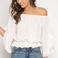 3/4 Ruffled Sleeve Off the Shoulder Woven Top with Elastic Waist Detail - Off White