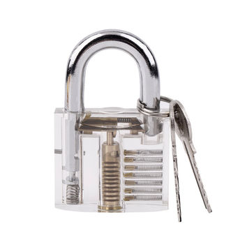 1Set Transparent Pick Cutaway Visable Inside View Padlock Lock For Locksmith Tools Practice Training Skill