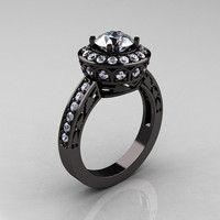 Classic 14K Black Gold 10 Carat White Sapphire by artmasters