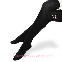 Lovely Black Cotton Slim Bows Lolita Knee Stockings
