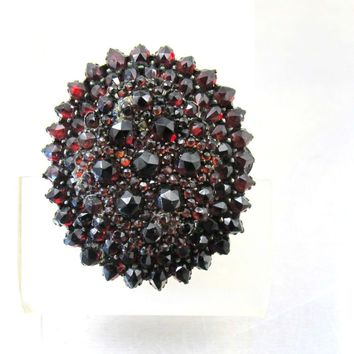 Antique Bohemian Garnet Pendant Brooch, Victorian Rose Cut Garnets, Large Oval Layered Design, January Birthstone