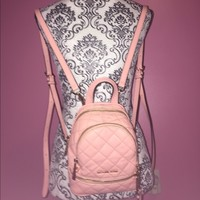Michael Kors Rhea X-Small Pink Quilted Backpack