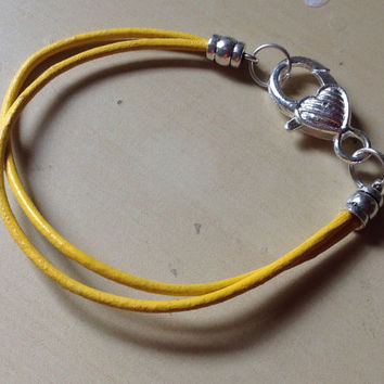 Yellow Gold Leather Heart Awareness Bracelet-Child Cancer-Bladder Cancer-Sarcoma-Liver Cancer- Spina Biffida-Missing Children-Heart-Angel
