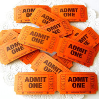 Vintage Carnival Tickets. Paper Ephemera. Raffle Ticket. Admit One Ticket. Party Tickets. Orange Tickets. Halloween Scrapbook. Journal Tag.