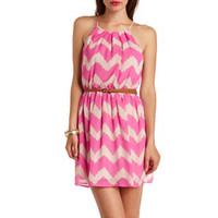 BELTED CHEVRON CHIFFON HALTER DRESS