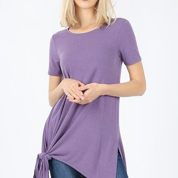 Short sleeve asymmetrical tie shark bite hem top eggplant