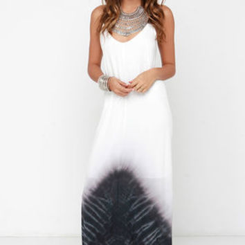 Oh, So Boho Ivory and Washed Black Tie-Dye Maxi Dress