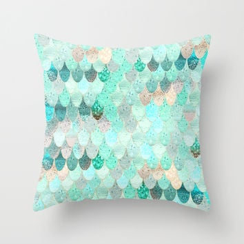 SUMMER MERMAID Throw Pillow by Monika Strigel