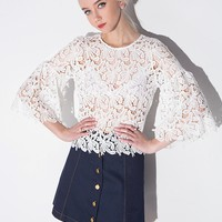 White Lace Bell SleeveTop